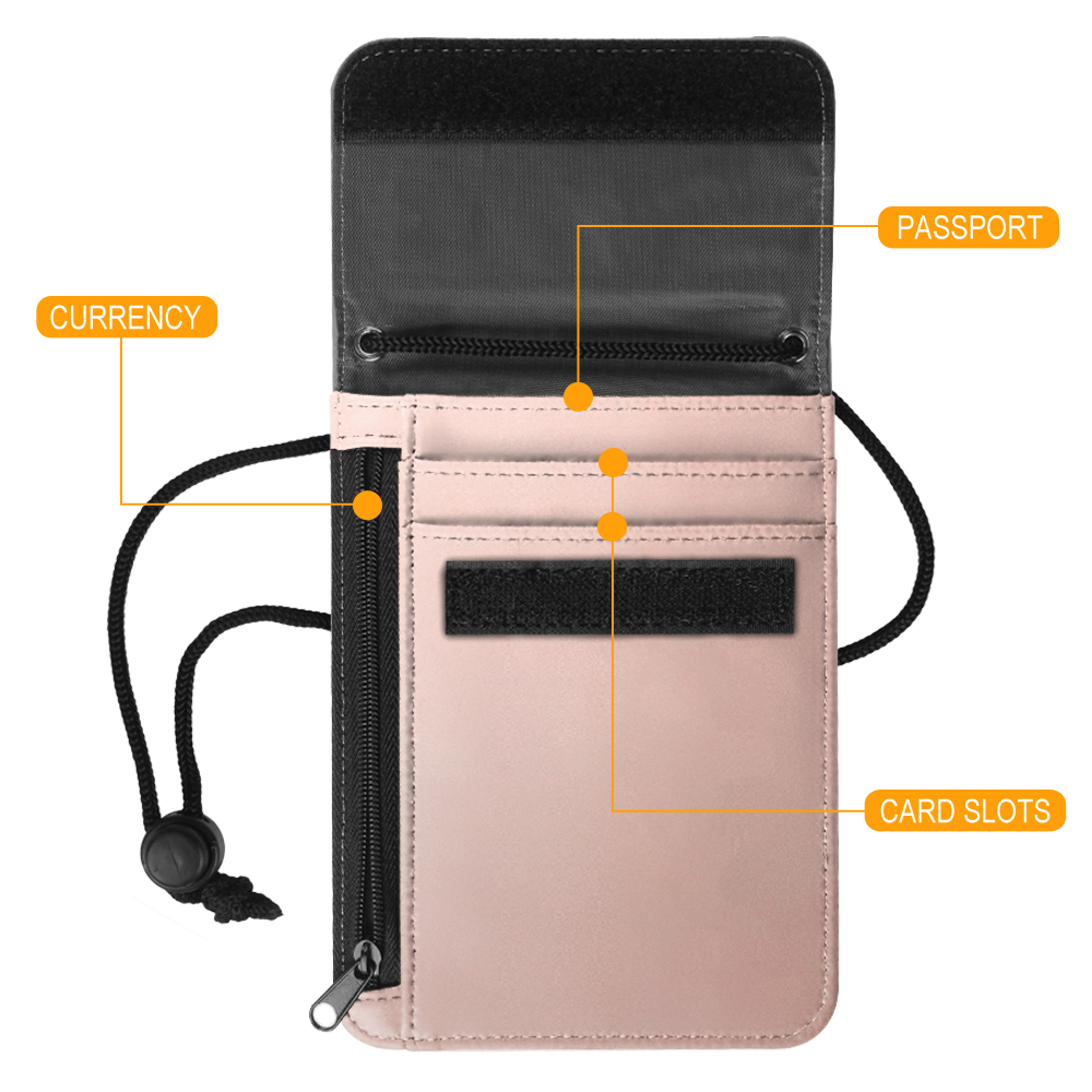 cb2369ea212 Neck Pouch PU Leather Travel Passport Holder ID Cards Cash Wallet Cellphone  Bag