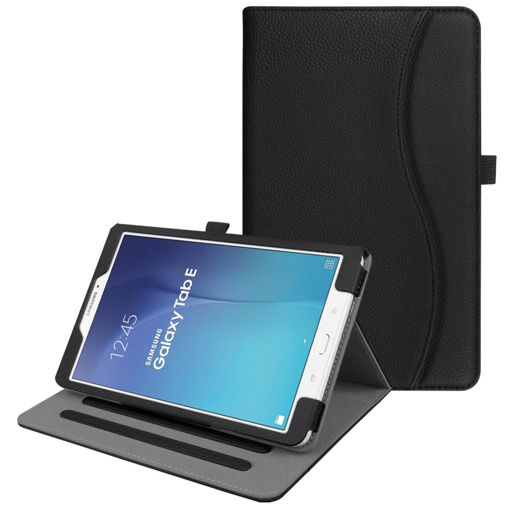 pretty nice 69b73 eee25 Details about Folio Case Cover Stand For Samsung Galaxy Tab E 9.6 / Tab E  8.0 Auto Sleep/Wake